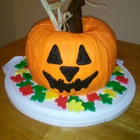 Halloween Pumpkin This was made from two bunt cakes and covered with buttercream icing.