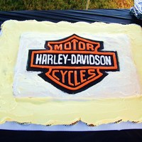 Harley Cupcake Cake harley logo done in royal icing and fondant. used double stick tape to hold them in place since i had to transport it already done-best...