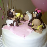 "Monkey Theme Shower 3 cakes 12"" 10"" and 8"" mixture of fondant, gumpaste and molded chocolate mommy loved them!"