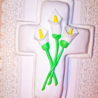 Easter Lily Cross all fondant w/hand molded easter lillies