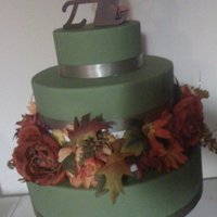 Fall Flowers Cake 2 tier white wedding cake with flower tier.. great for fall! www.sugarnspicepatisserie.com