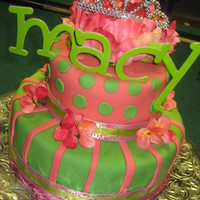 Pink And Green Princess Cake 2 Tier pink and green birthday cake for a 10 year old girl with tiara on topwww.sugarnspicepatisserie.com