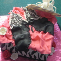 Lingerie Box Cake This is a zebra print lingerie cake for bridal shower/bachelorette shower. Brownie extreme cake covered in fondant with all fondant detail...