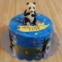 Roze's Panda Chocolate cake with chocolate ganache filling and vanilla fondant. Panda modeled from white chocolate and trees chocolate fondant. Design...