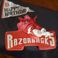 "Razorbacks! Razorback red velvet cake with cream cheese icing. All cake with fondant accents. BTW...that's ""steam"" blowing out his nose..."