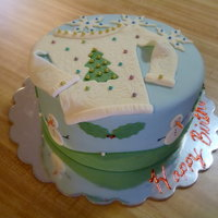 Ugly Sweater Ugly Sweater party cake, cake was inspired by a parachuting Santa on to a golf course and an 80's long sweatshirt holy/snowflake dress...
