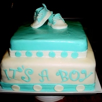 It's A Boy Red velvet cake with cream cheese icing, covered with vanilla fondant