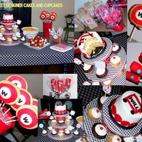 Collage Of Vintage Radio Flyer Birthday Cake And Treats