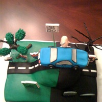 Over The Hill  Made for a coworker's surprise 50th bday party. The cake is him driving over the hill and into darkness. Everything is edible and made...