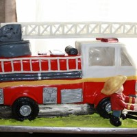 Firetruck And Fireman Cake This was so much fun to do for my grandson's 2nd birthday. I had to make so many little molds so this truck would like real!The...