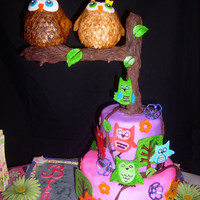 Owl Cake  Owl cake for a beautiful 3 year old! Bottom tier is triple chocolate cake with a cherry filling and chocolate ganache. Top tier is...