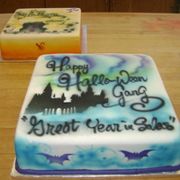 Airbrushed Halloween Fondant Square Castle In this Uber airbrush design,I just trying to do a different color combination and a nice castle design...it was much harder then i...