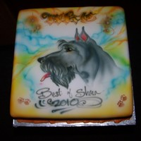 Airbrushed Cake, Scottish Terrier This was for a client whose dog had won best in show...not a small feat for the little guy. this was nother challenge in creating a unique...
