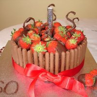 Chocolate Strawberry Cake Chocolate yoghurt cake filled and decorated with chocolate ganache, chocolate biscuit fingers and chocolate dipped strawberries