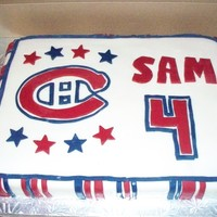Go Habs Go Sam Montreal Canadian cake ... special request from this little boy who LOVES hockey.white pound cake with buttercream frosting.. covered with...