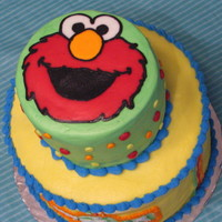 My Sons First Birthday Cake All butter cream . Top is 6 inch bottom is 10 inch. FBCT. Thank you to all who made Elmo cakes! You inspired me!