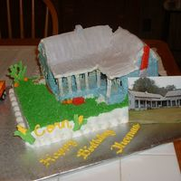 The Old Place Birthday cake for a friend. Tried to make a replica of his family old place. Actual picture of the house in the corner.
