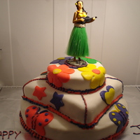 4Th Birthday Hula Party! The is a 3 tier cake with buttercream icing, and marshmallow fondant. The bottom tier is vanilla pound cake, the middle tier is strawberry...