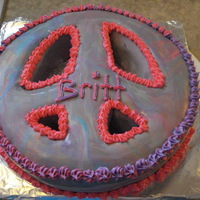 Peace Sign Cake This is strawberry cake, buttercream icing and marshmallow fondant! Tie-dyed in color for a birthday!
