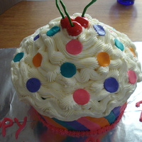 Giant Cupcake this is a strawberry cake with buttercream icing and fondant icing! And the cherries on top are also fondant! Very pleased with the...