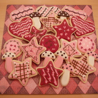 Hearts And Stars Red And Pink Cookies