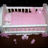 Baby Crib Vanilla Cake with buttercream frosting and fondant. Bed rails made from candy. Thank you for looking.