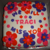 "Fondant ""miss You"" Flower Cake  I made this for a friend on her last day at work. It was only the 2nd time I had used fondant but want to practice as much as possible. I..."