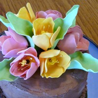 Blue Cake With Gumpaste Tulips