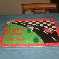 Nascar Cake Yellow Cake with all buttercream decorations