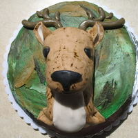Mule Deer My version of the deer cake i've seen a few times on here. Deep chocolate cake with camo classic buttercream. Deer is made from RKT...