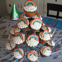 Double Rainbow Cupcakes My daughter wanted a rainbow teaparty for her 4th birthday. Easy enough. We made them together. Vanilla cupcakes colored in the colors of...