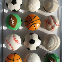 Sports Ball Cupcakes i got the idea for these off of cake central! There are quite a few ideas of these on here. I was asked to make balls for a little boy who...