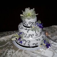 Tif Wedding Cake A chocolate cherry cake with dark chocolate ganache filling, chocolate bc and mmf.