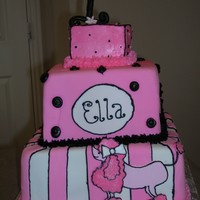 Pink Poodle Paris Pink Poodle for first birthday. Matches invitation. All fondant except smash cake on top ~ buttercream