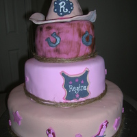 Cowgirl 50Th 50th Birthday cowgirl cake. All fondant ~ hat RKT