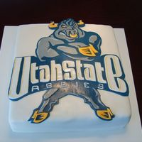Utah State Logo cake covered in fondant