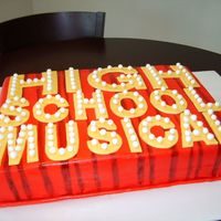 High School Musical cake covered in fondat - individual bulbs and sockets