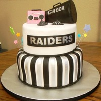 Mh Raiders Cheerleading I made this cake for the end of the season cheerleading party. Both tiers covered with fondant, top tier is chocolate cake with chocolate...