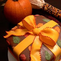Fall Present Cake This was one of my Wilton Class #3 cakes. My instructor Lisa was great!