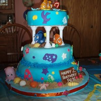 Finding Nemo Birthday Yellow cake with cherry filling-covered with MMF with MMF accents!TFL.