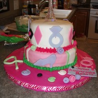 French Themed Bday Party French themed cake with Eiffel Tower cake topper. Chocolate Fudge Cake with Oreo Cookie filling covered with MMF.