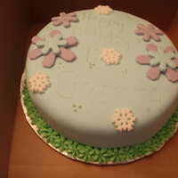 Winter Wonderland Birthday This is a french vanillia cake with strawberry filing covered with MMF.