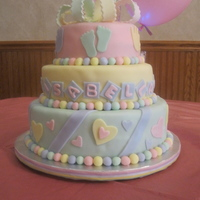 Baby Shower Cake  all pastel colors, baby shower cake.. each tier was diiferentvanilla cake with pineapple fillingchoc cake with raspberry fillingred velvet...