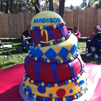 Carnival Theme Topsy Turvy Birthday Cake This cake is a topsy turvy cake, carnival theme/colorsHad fun doing this one and can't wait to do another topsy turvy...