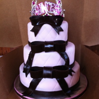 Sweet 16 Cake   Cute Pink cake for a Princess. bows are dark chocolate satin ice fondant