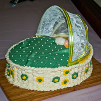 Bassinette I did this bassinette cake for a baby shower. The bonnet is made wrom a sheer curtain and some wire. The cake was made from 2 - 11x14 ovals...