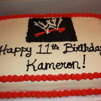 Wwe Cake wwe cake with buttercream icing...(before the wrestling men were put on the cake)