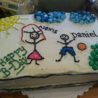 My Childrens Birthday Cake Alexis and Dan's Pineapple filled yellow cake.