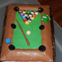 Fathers Day Pool Table Peanut butter cake with cream cheese peanut butter filling.