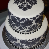 Damask Wedding Cake to match wedding invitations for a bridal shower. My first attempt at stenciling, stenciled and bordered with royal icing and edible...
